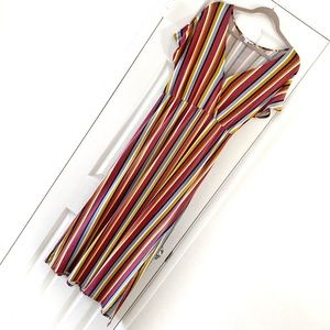 Pink Rose multicolored Stripped Slit Maxi Dress M